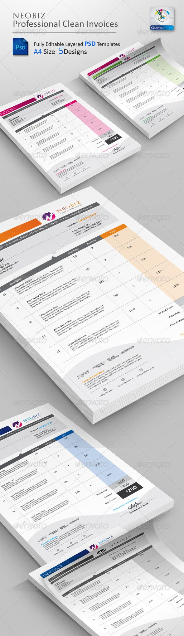 neobiz clean invoice psd templates | fonts, timeline and texts, Invoice examples