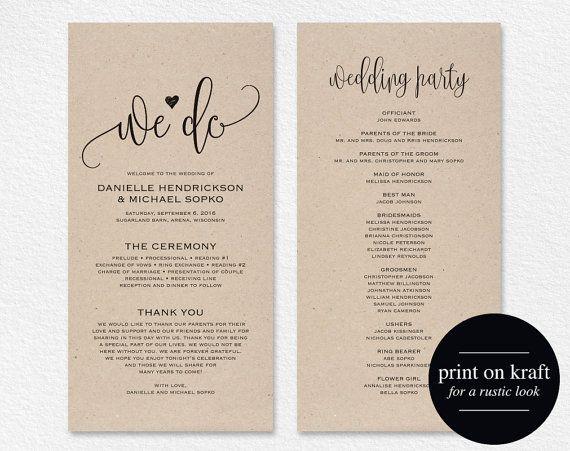 Wedding Program Template, Wedding Program Printable, We Do, Ceremony