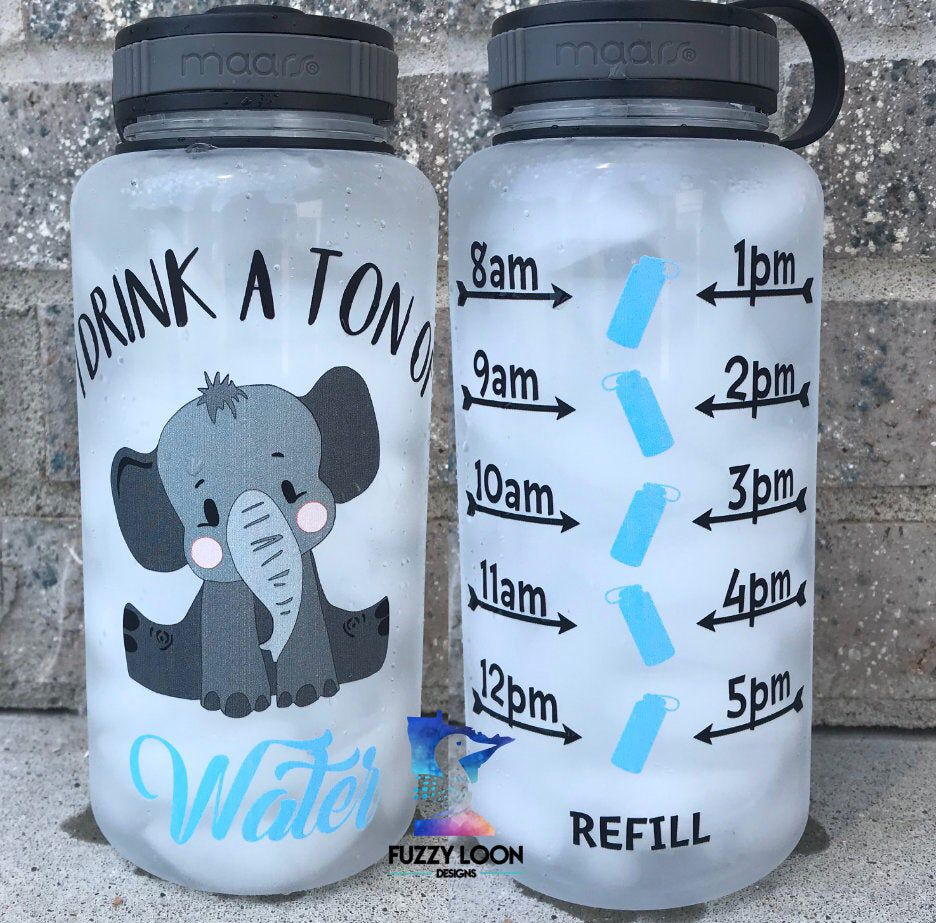 Motivational Water Bottle, I Drink A Ton Of Water Elephant Water Bottle With Hourly Time Tracker
