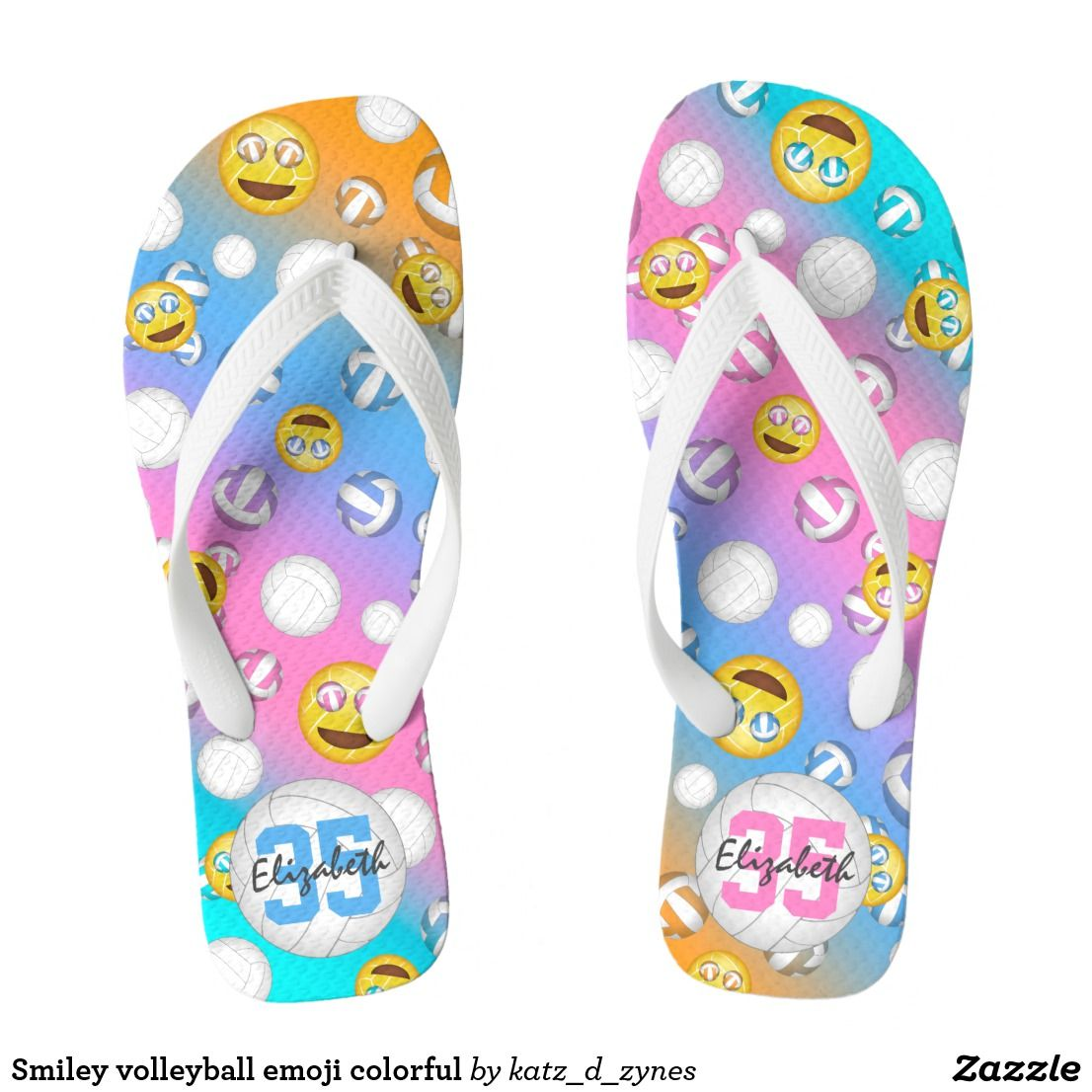 96ad7a5d1c71 Volleyball emoji flip flops w custom name   jersey number  pastel  girly   personalized  sports  giftsforher