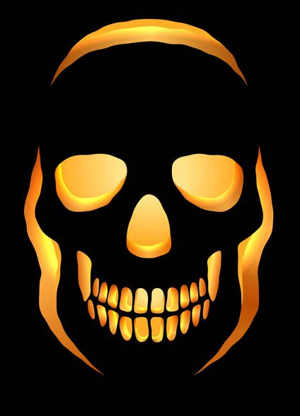 Skull Pumpkin Carving Stencil