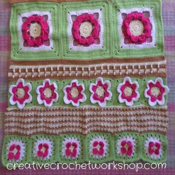 This Raised Rose Square is part of the Fields Of Flower Free Crochet Along. A beautiful flower inspired afghan. Free crochet pattern.