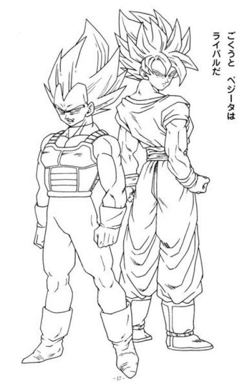 Goku and Vegeta Super Saiyan in Dragon Ball Z printable