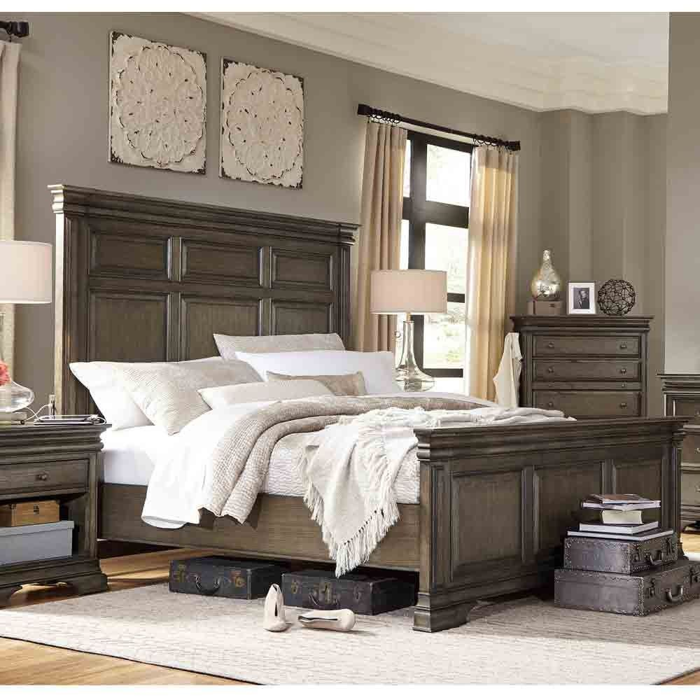 arcadia wood panel bed in truffle by aspenhome coming home mattress