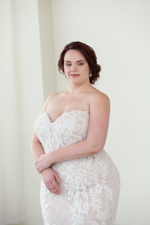 b1d65b39c108a7 Strapless lace wedding dress. Beautiful mermaid plus size wedding dress  with lace all over. Lace wedding dress with subtle sparkle.