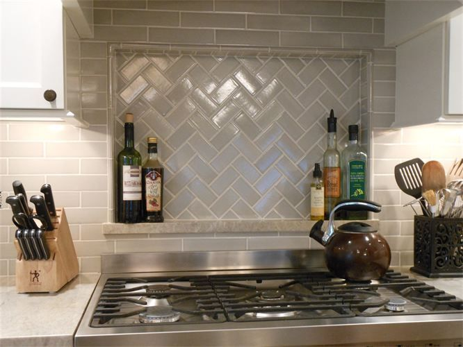 After A Niche Above The Stove With A Herringbone Tile
