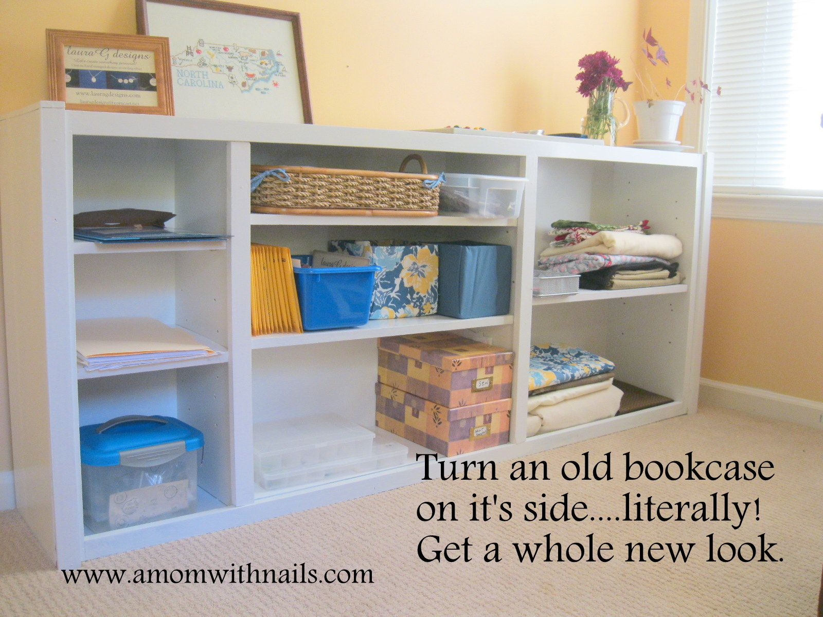 Turn An Old Bookcase On Its Side And Make It New Again Bookcase Redo Bookcase Horizontal Bookcase