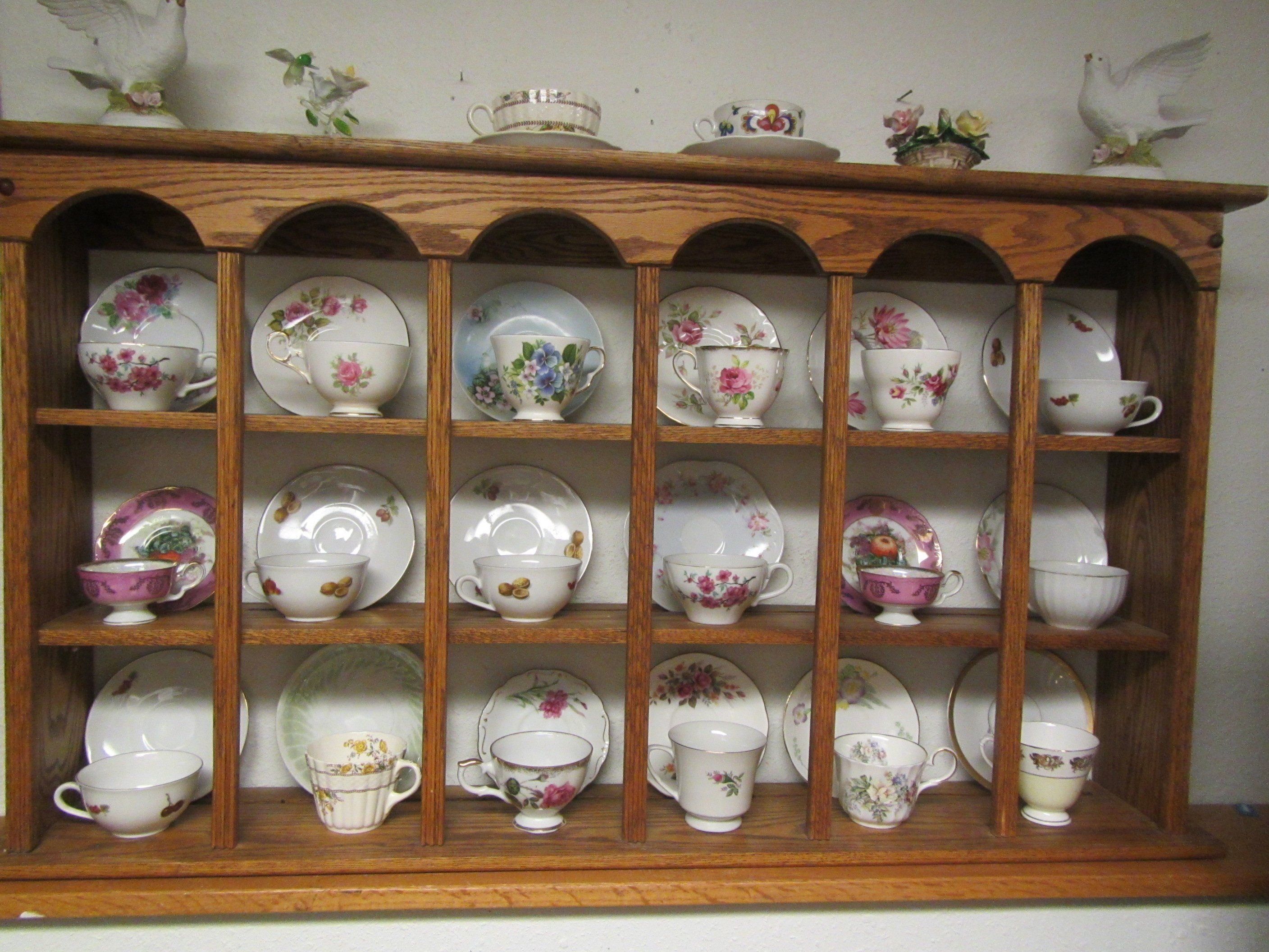 Large Oak Tea Cup And Saucer Wall Shelf With Plate Grooves