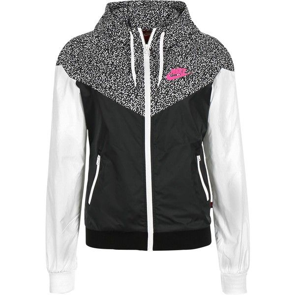 2b8d1e952d Nike Windrunner AOP W windbreaker black white ❤ liked on Polyvore featuring  activewear