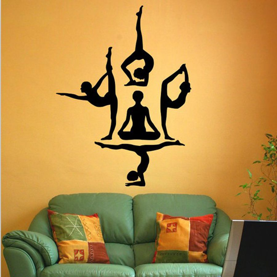 Yoga Styles Vinyl Wall Sticker Yoga Wall Art Decals For Home - Yoga studio wall decals