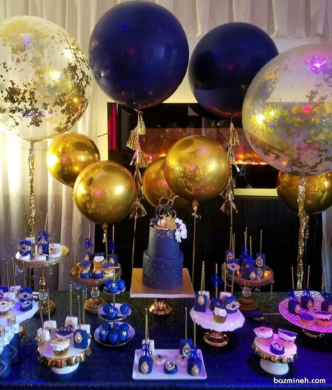 میزآرایی جشن تولد با تم سورمه ای طلایی Balloon Centerpieces Wine Art Happy Birthday Banners