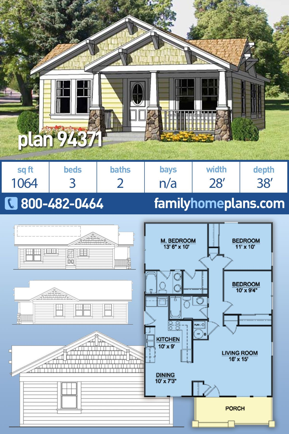 Craftsman Style House Plan 94371 With 3 Bed 2 Bath Cottage Plan Craftsman Style House Plans Small Craftsman House Plans