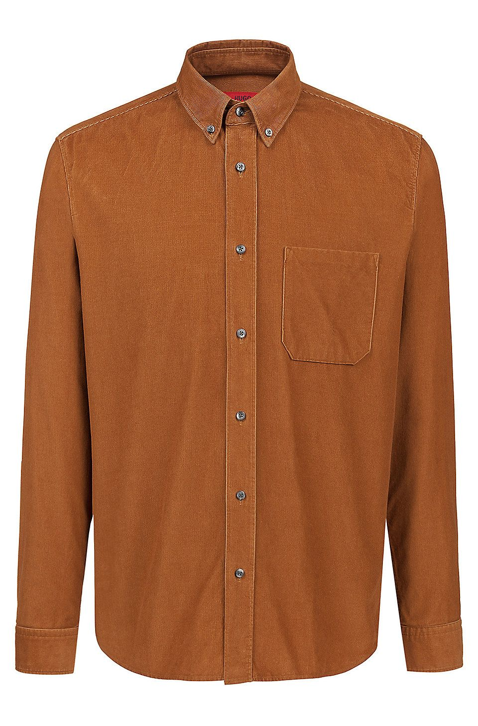 28797b34b7 HUGO BOSS Relaxed-fit button-down shirt in baby corduroy - Brown Casual  Shirts from HUGO for Men in the official HUGO BOSS Online Store free  shipping