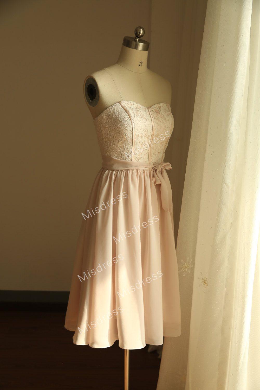 Knee length vintage wedding dresses  Vintage Inspired Blush Pink Lace Chiffon Bridesmaid by misdress