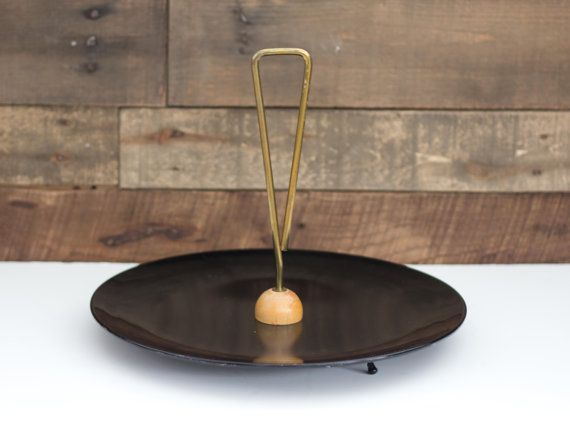 Vintage Black Metal Tray with Wood and Brass by PendletonMarket