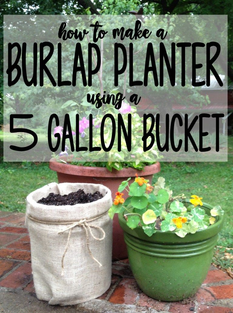 Instructions For Turning A 5 Gallon Bucket Into A Cheap Outdoor Planter Using Burlap Bucket Gardening Cheap Plant Pots Cheap Planters