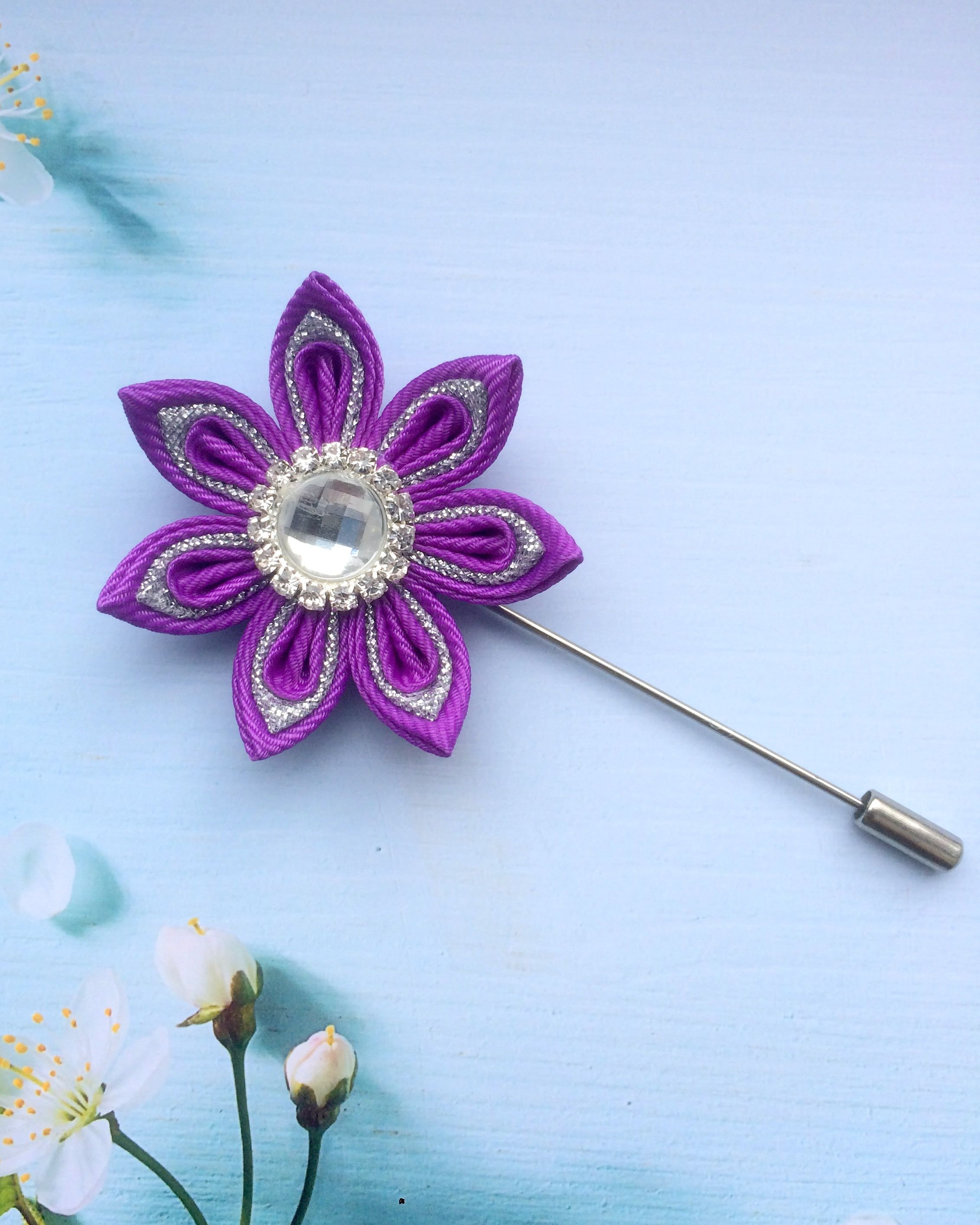 Kanzashi Flower Lapel Pin Best Man Gift Purple brooch Grooms