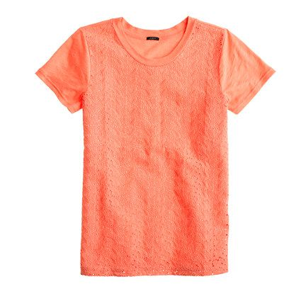 Paisley eyelet tee in Coral Haze, $40