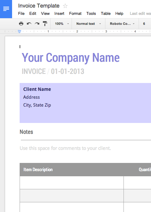 Resume Template Google Docs Use This Blank Invoice Template For Google Docs Now  Free