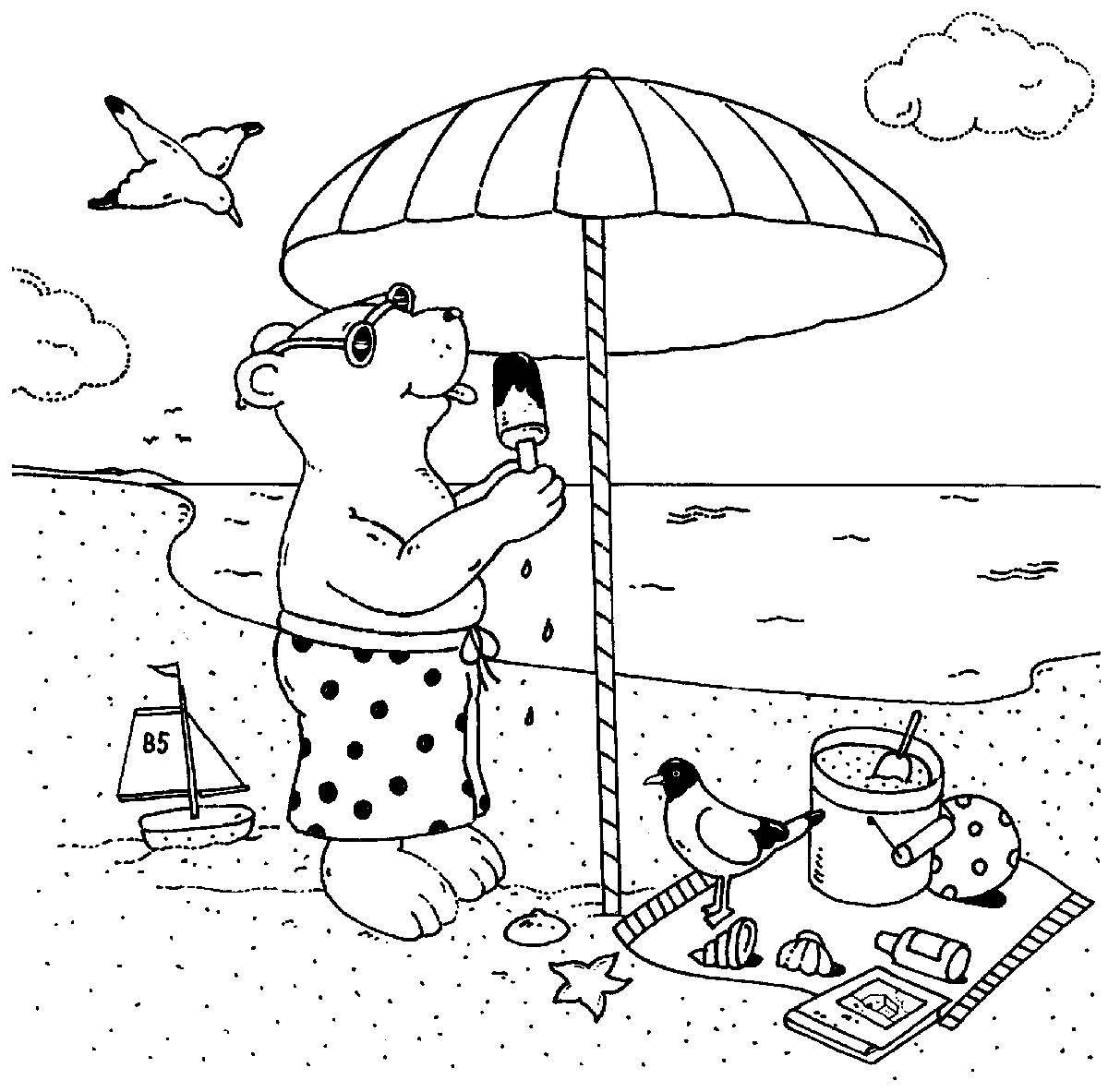 Ausmalbild Urlaub und Reisen Bär isst Eis am Strand ...