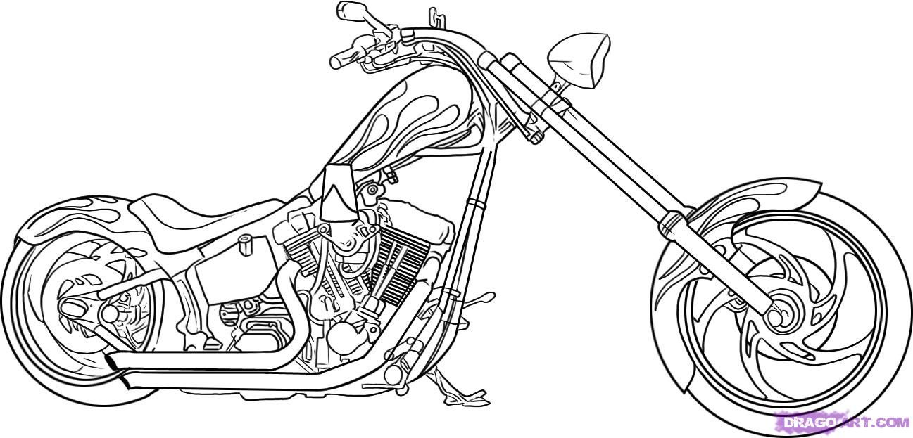 How To Draw A Motorcycle By Dawn Motorcycle Drawing Chopper