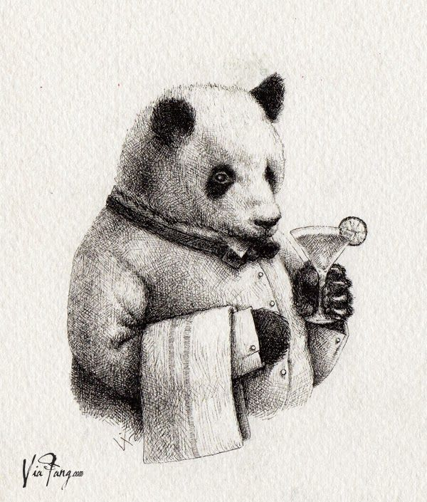 Superieur The Bartender Billy / Panda U0026 Sons Menu Illustration #panda #pandau0026sons