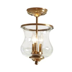 Allen Roth Yately 8 68 In W Natural Bronze Clear Glass Semi Flush Mount Light Lighting For