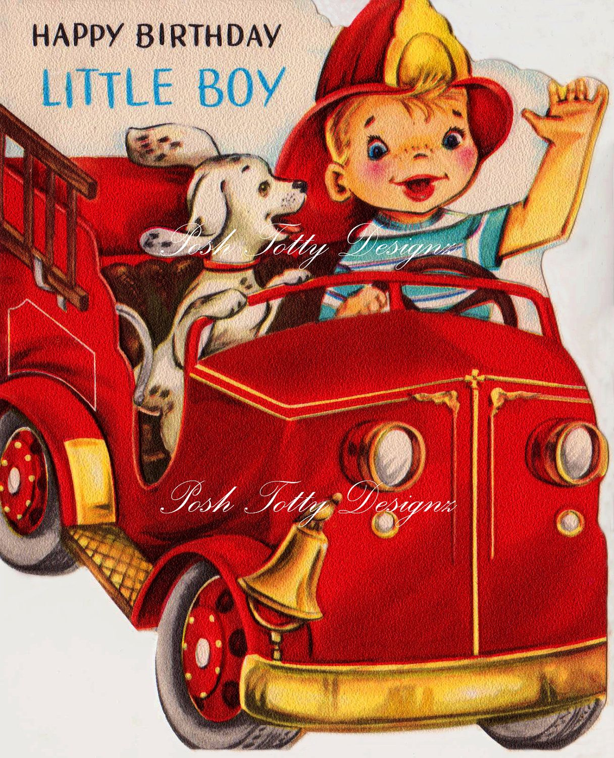 1950s Happy Birthday Little Boy Fire Chief Vintage Greetings Card Digital Download Printable Image 331