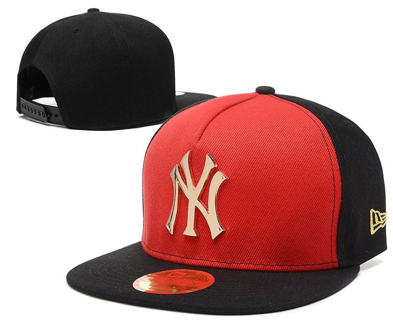 Men s New York Yankees New Era 9Fifty Gold Metal NY Logo A-Frame Baseball  Snapback Hat - Red   Black   Black fb57c8bf966c