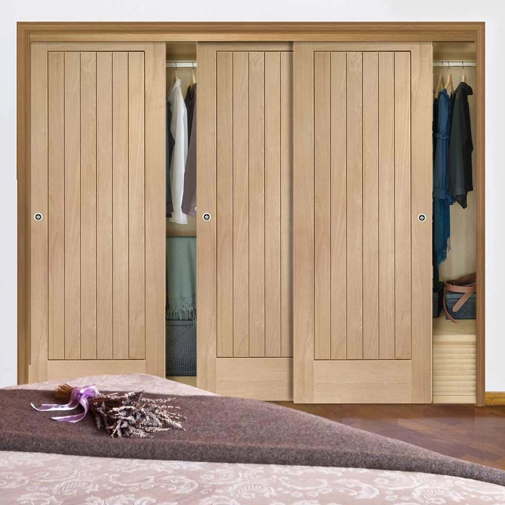 Three Sliding Wardrobe Doors Frame Kit Suffolk Oak Door Prefinished Bedroom Built In Wardrobe Sliding Wardrobe Doors Wardrobe Doors