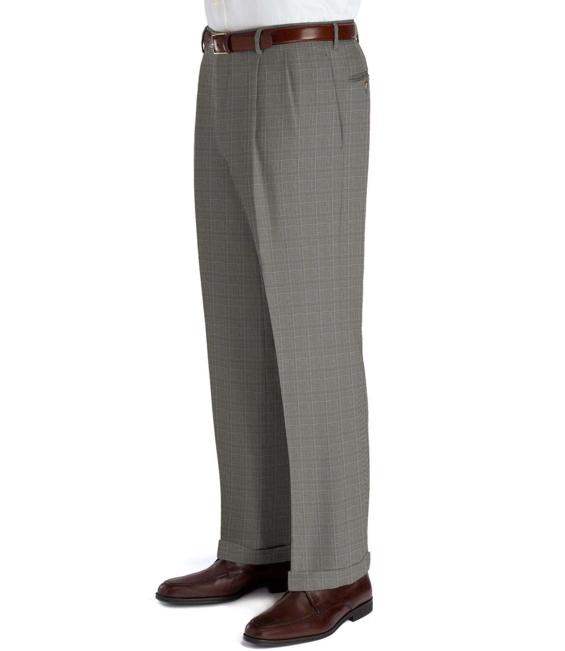 Executive Plaid Wool Plain Front Trousers Extended Sizes
