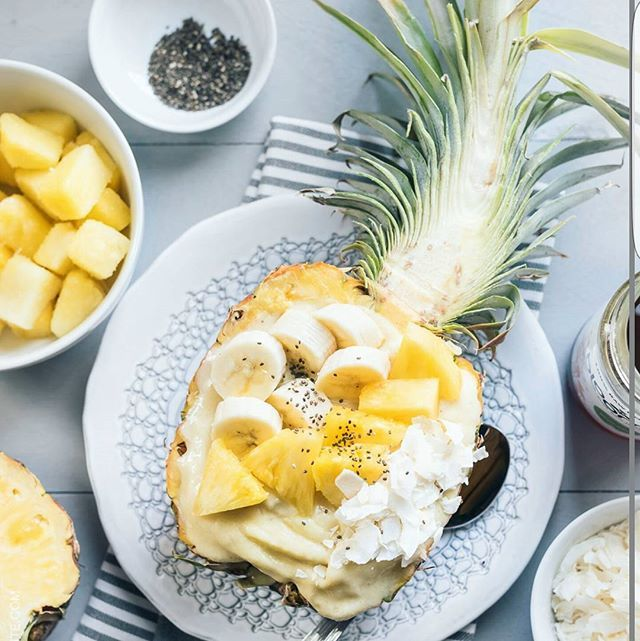 Ingredients include: 1 ripe banana 1-2 tablespoons honey (to taste) 1/4 cup almond milk 2 cups frozen pineapples chia seeds From:kitchenconfidante.com #recipe #pineapple #tutorial #healthy #plate#fruits#yummy #cool#diet#chia#health#vitamins #nutrition #banana#coconut