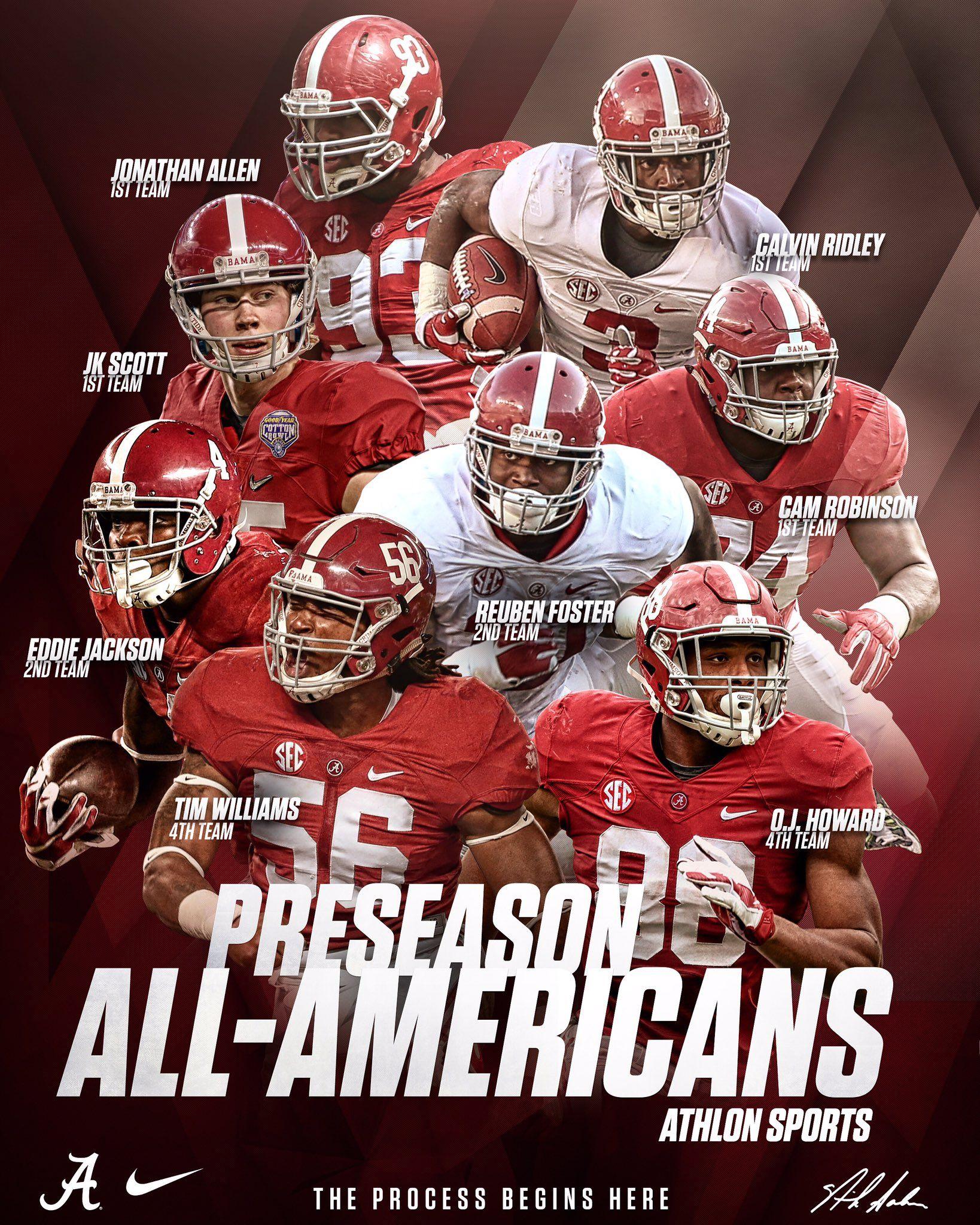 2016 Athlon Sports Preseason All American Alabama Crimson Tide Football 1st Team Jona Alabama Football Alabama Crimson Tide Football Crimson Tide Football