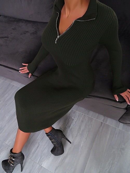KLEID Strickkleid Stretch Best Sexy Fit Damen R20 Pulli Dress Top Army Green M