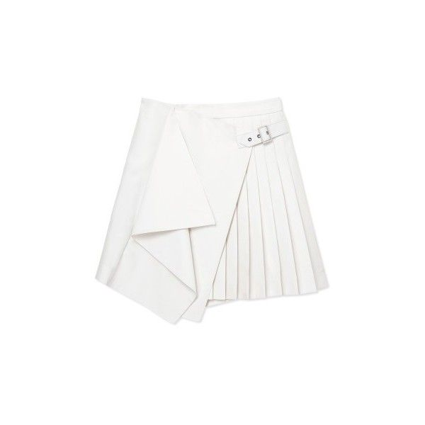 Salvatore Ferragamo Pleated Wrap Skirt (€1.280) ❤ liked on Polyvore featuring skirts, bottoms, faldas, wrap skirt, white pleated skirt, knee length pleated skirt, white skirt and white knee length skirt