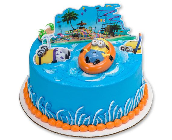 Minion Cake Topper Kit Minion Beach Birthday Cake Topper