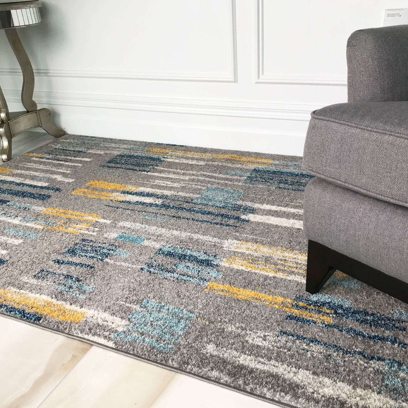 Briston Is A Modern Painterly Abstract Design Created In A Trending Colour Combination Of Ochre Duck Egg T Gray Rug Living Room Teal Rug Rugs In Living Room