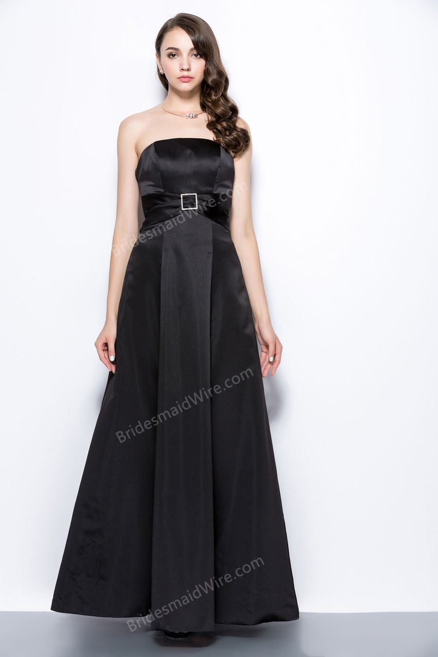 Simple empire waist bateau black satin slim aline bridesmaiddress