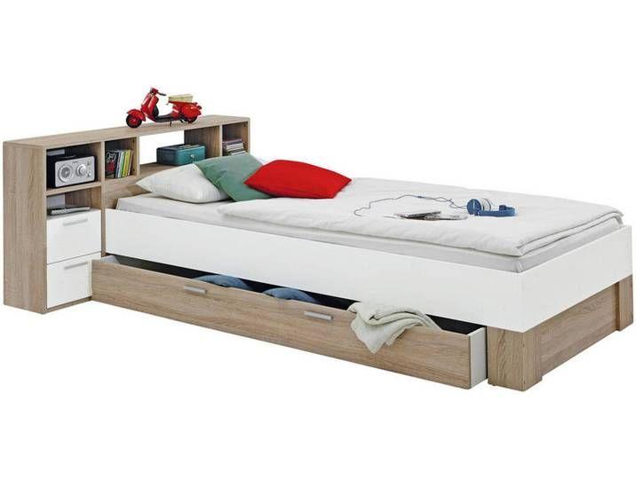 Carryhome Bett Weiß Eiche Bh 90 200 In 2020 Bed