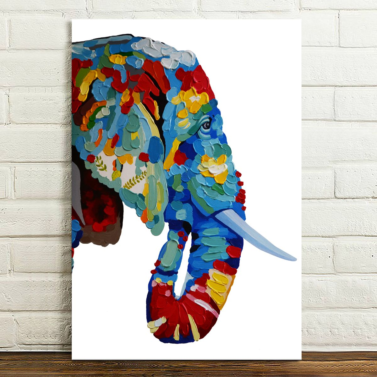 Hd canvas prints painted abstract color elephant head wall for Art painting for home decoration