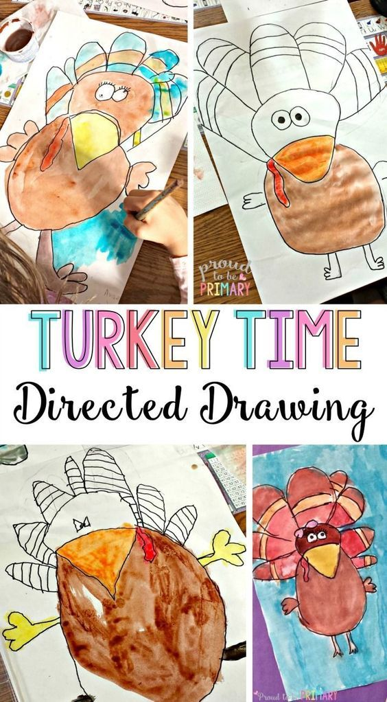 Turkey Drawing Step-by-Step for Primary Classroom Students