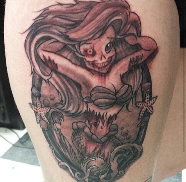 Ariel Zombies Tattoo Little Mermaid Ariel Princesses Zombies Ariel Zombie Tattoos Scary Tattoos Little Mermaid Tattoos