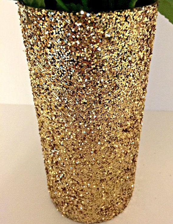 Set of 5 Gold Glitter Vase Wedding Centerpiece by CharmingJarsUSA