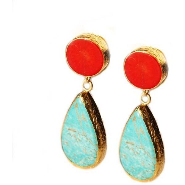 toosis Turquoise And Coral Earrings ($84) ❤ liked on Polyvore