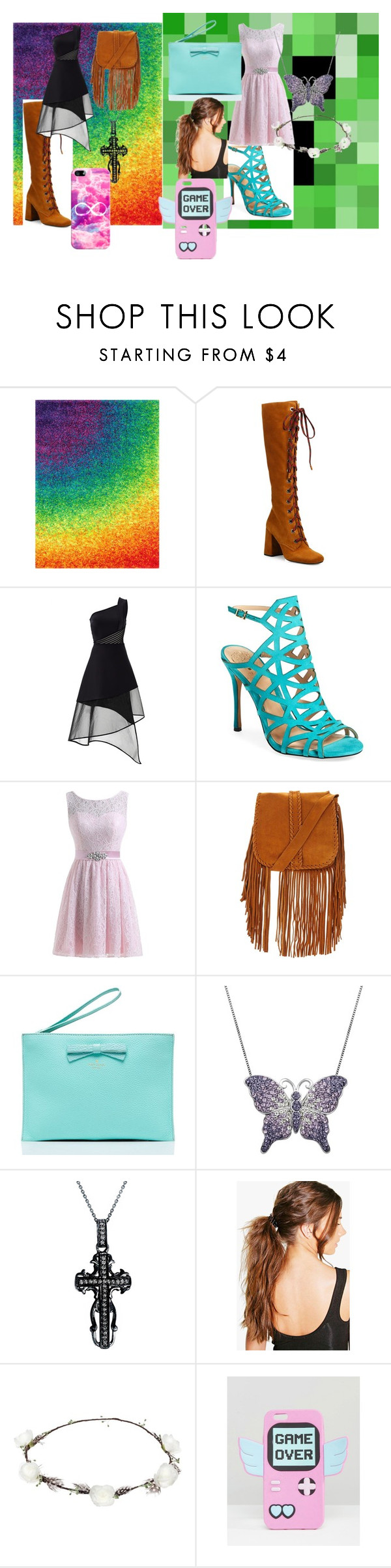 """""""Lizzie and Sierra's Party Outfit"""" by lizzie12304 on Polyvore featuring Loloi Rugs, Prada, David Koma, Vince Camuto, Kate Spade, Artistique, Mystic Light, Boohoo, Lipsy and Skinnydip"""