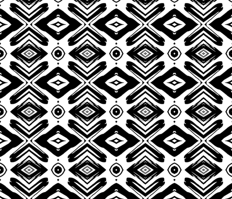 Ethnic geometric black and white pattern fabric by tukkki on spoonflower custom fabric
