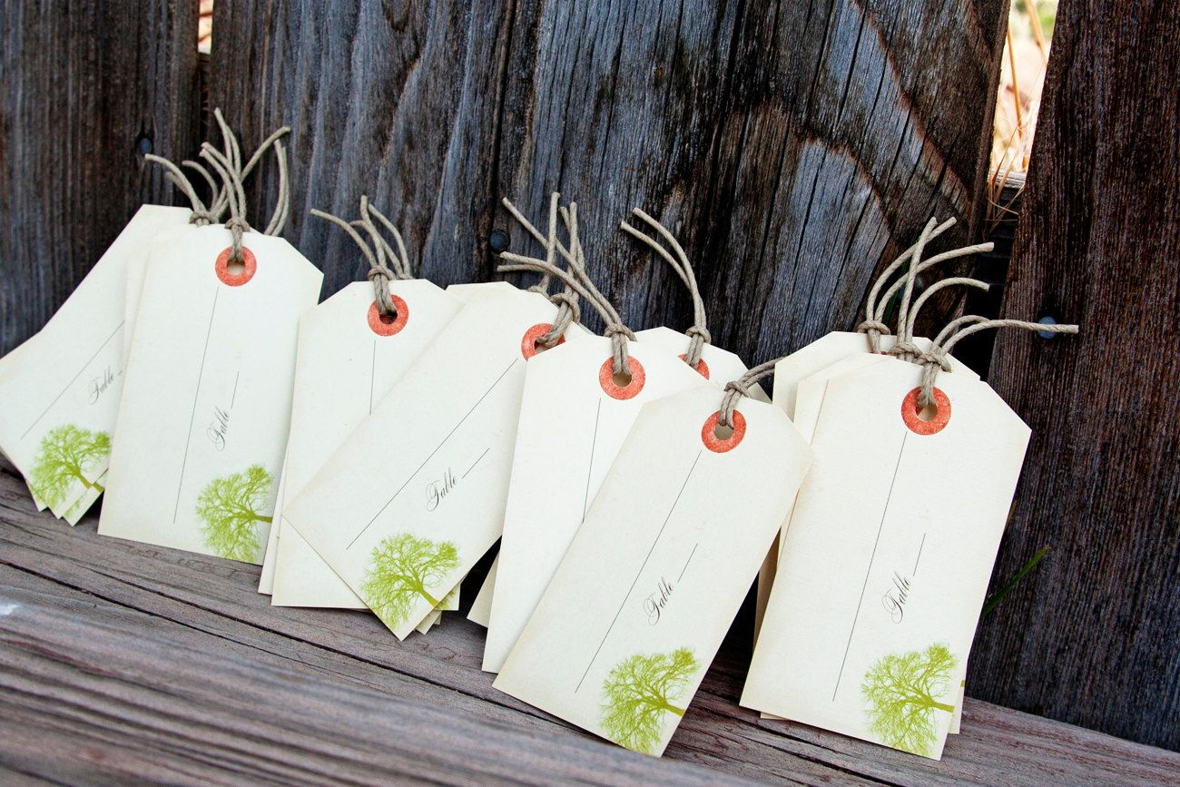 Big Tree - Vintage Luggage Tag Escort Cards - Place or Favor Cards ...