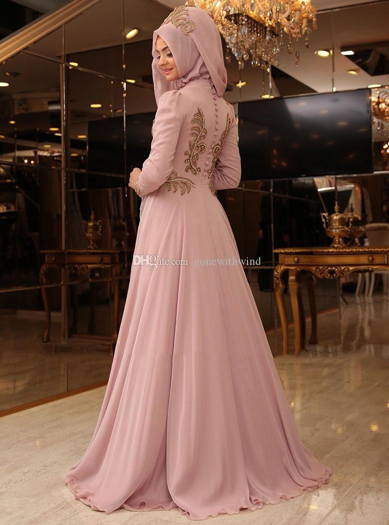 2016 muslim hijab evening gowns prom dresses lace appliques beaded arabic  kaftans dresses dubai abayas muslim evening gowns islamic clothing 95ec7be4a3a8