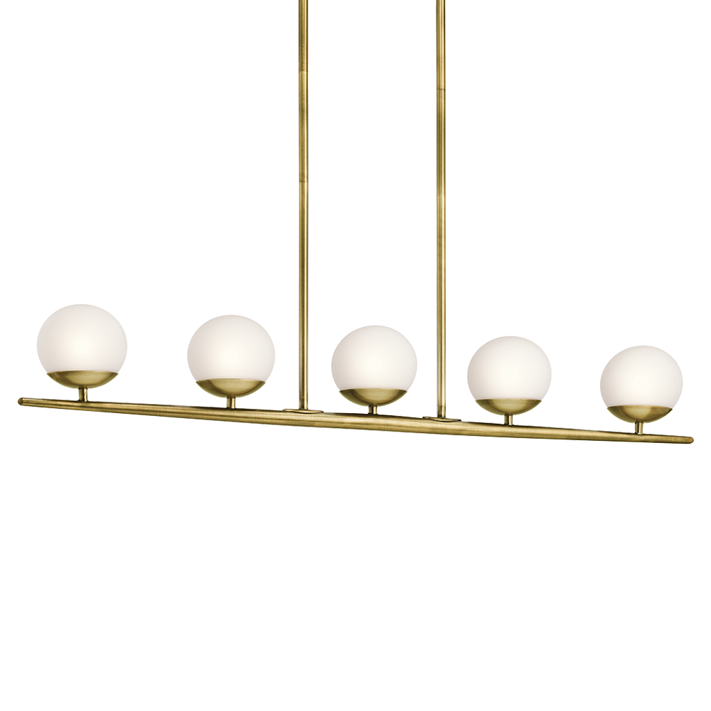 This 5 Light Halogen Linear Chandelier From The Mid Century Modern Jasper Collection Features A Gently Tapered Bar With Satin Etched Cased Opal Globes