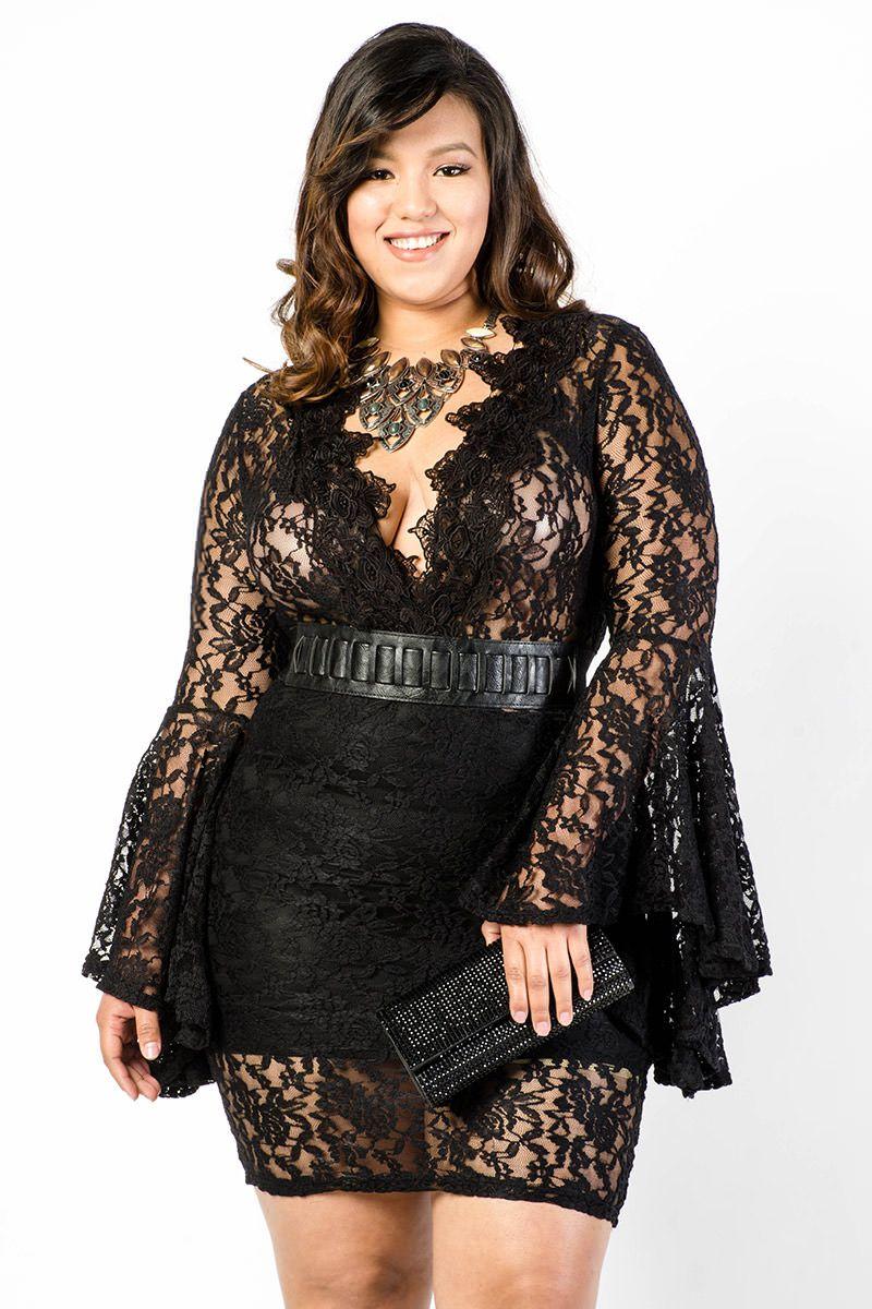 Lavish Plunge Lace Mini Dress | Curvy Gal with Style | Mini ...